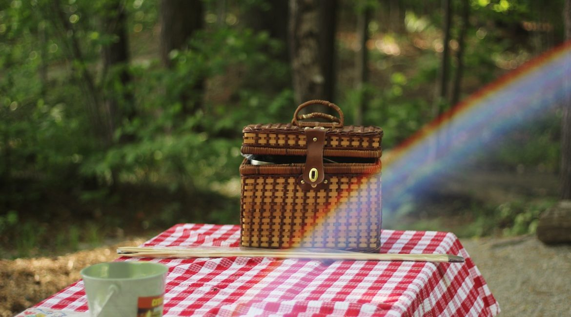 Picnic basket on picnic table for outdoor eating
