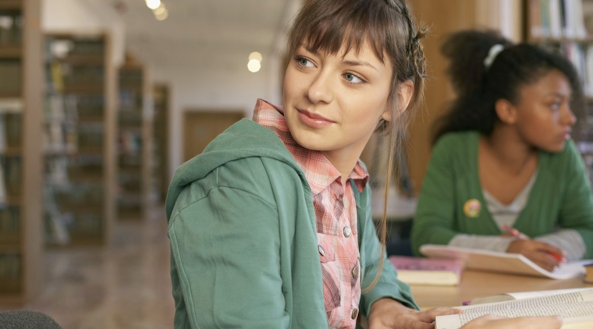 Young woman in college