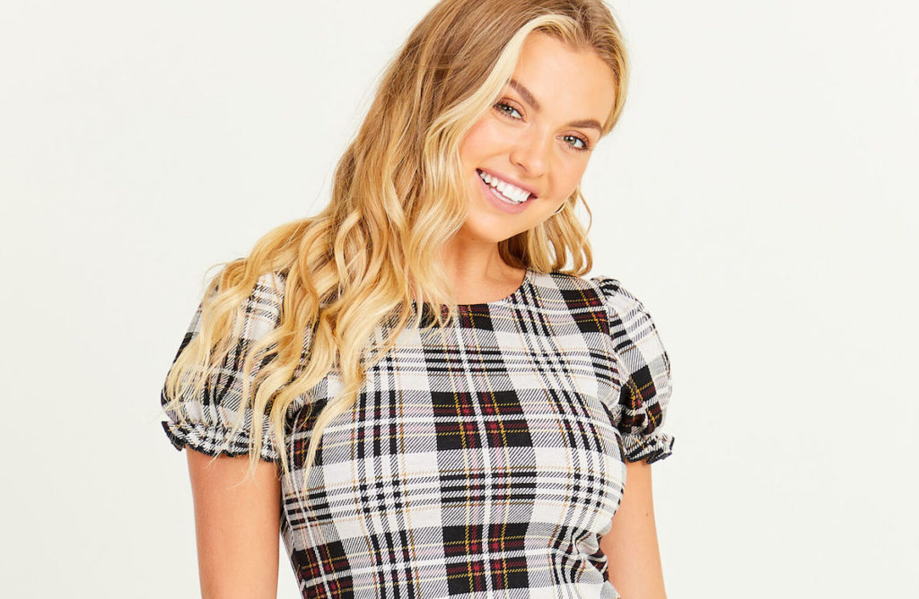 Young Woman wearing a Plaid Top for fall style