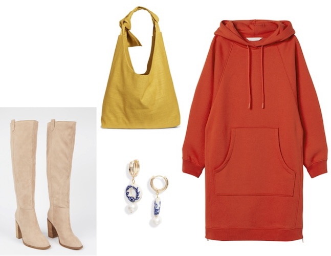Red dress with yellow bag