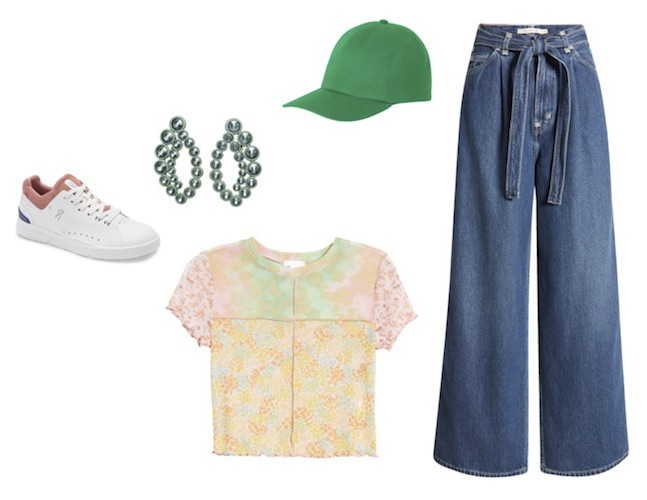 Jeans and a t-shirt with green accessories
